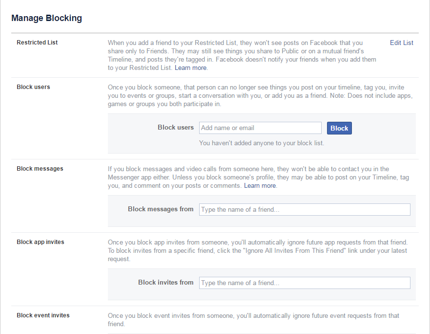 Facebook manage blocking users