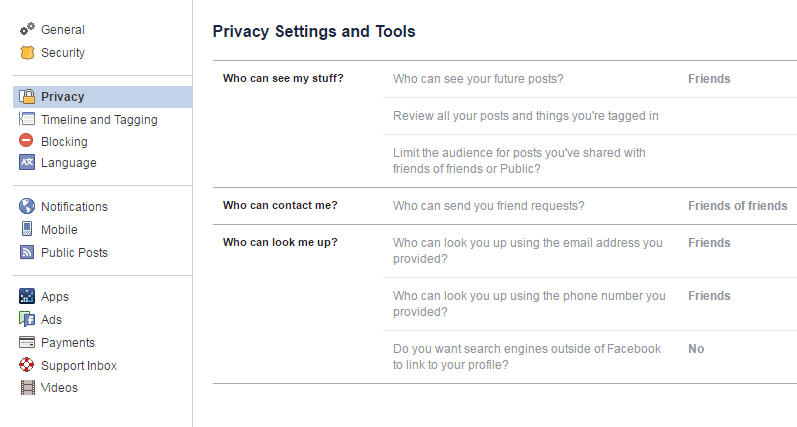 Facebook privacy settings tools