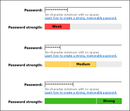 email strong password
