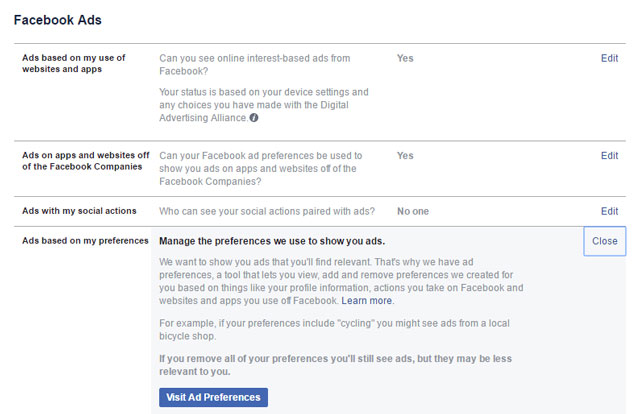 facebook ads privacy settings