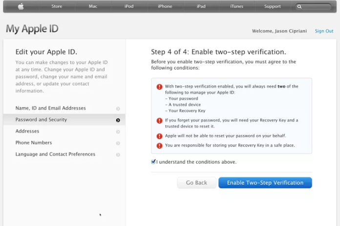 two factor authentication enable