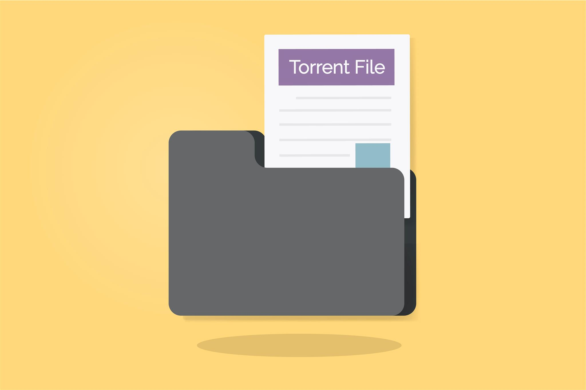 A paper with the words Torrent File inside a file box