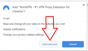 Add extension NordVPN Chrome Extension