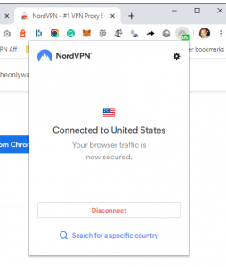 Connected to a server NordVPN Chrome Extension