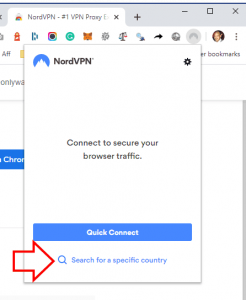 Search for specific country NordVPN Chrome Extension