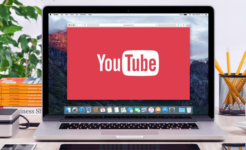 YouTube running on a MacBook