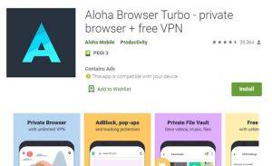 Aloha Browser Turbo Playstore Image