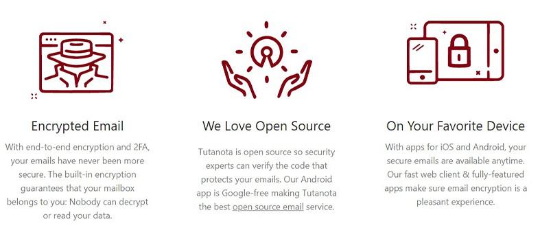 Tutanota Secure Email features