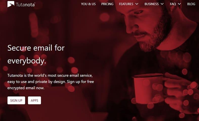Tutanota Secure Email homepage screenshot