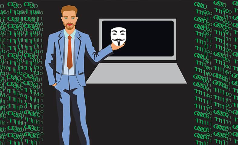 an image of a man staying secure while online