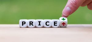 An image featuring dice that says price that goes up or down