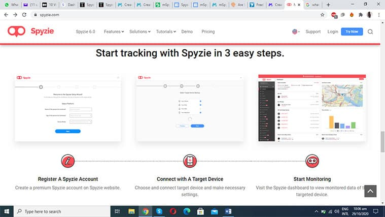An image featuring the Spyzie setup process in three steps