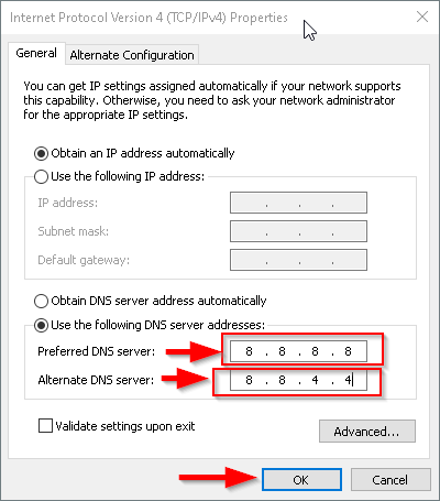 Modify DNS server address Step 5
