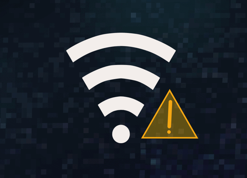 WiFi icon and yellow triangle with exclamation mark on dark pixel background