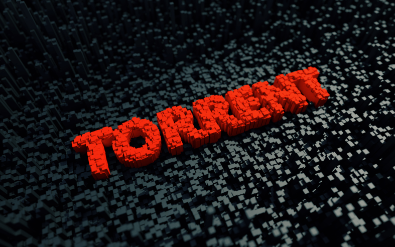 Red Torrent text on black cubes background
