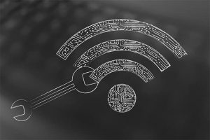 An image featuring the Wi-Fi logo with an tool next to it representing changing Wi-Fi password