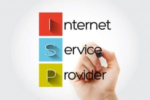 An image featuring a person holding out his hand and writing with a pen that says internet service provider