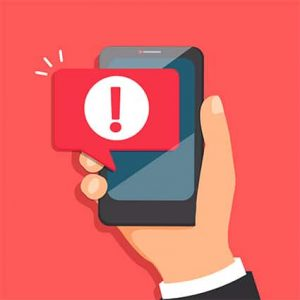 An image featuring a drawn hand that is holding a smartphone that has malicious malware notification from untrusted source apps