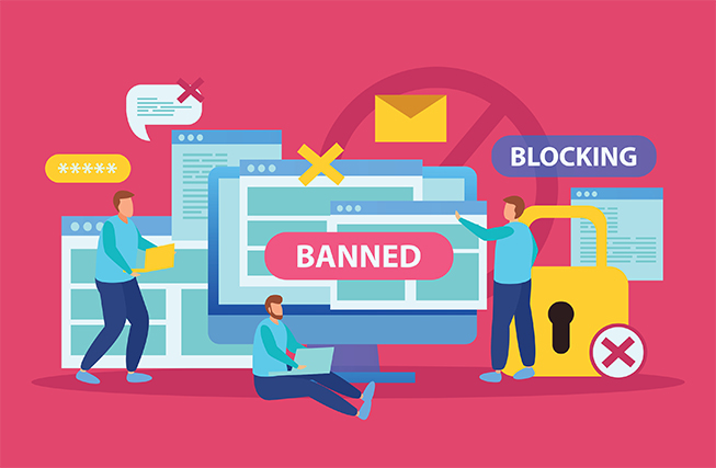 An image featuring a drawing of multiple people around tech devices that says being banned and blocked