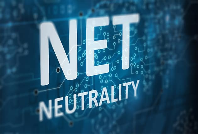 An image featuring a blue background that says net neutrality on it
