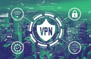 An image featuring a concept of a VPN with an VPN logo service in the middle