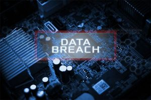 An image featuring data breach concept with a PC motherboard