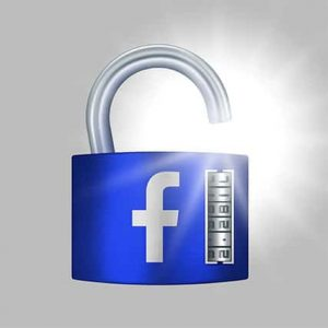 An image featuring an unlocked lock with the Facebook logo on it representing Facebook Data Breach
