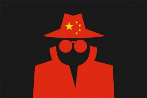 An image featuring an anonymous drawn person with the China flag on his hat representing surveillance state