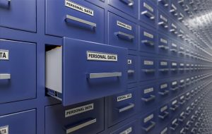 An image featuring multiple cabinets that says personal data on them representing personal data protection and privacy concept