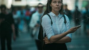 An image featuring a person being blurred representing identification and privacy in modern digital technologies concept