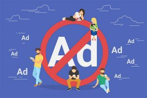 An image featuring a cool drawn concept of people skipping ads