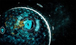 An image featuring a planet that has cool drawn security and online privacy concept