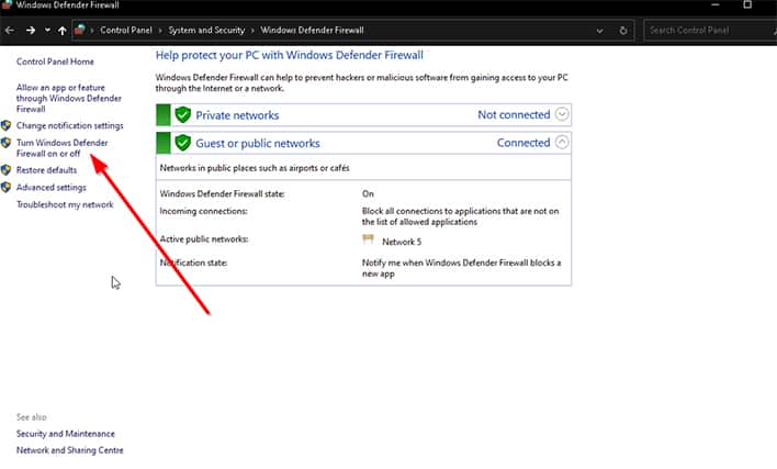 An image featuring fixing Avast VPN problem with deactivating Windows Defender firewall step 3