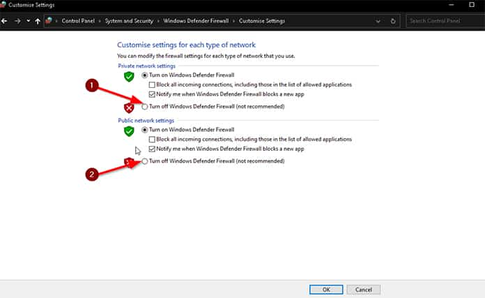 An image featuring fixing Avast VPN problem with deactivating Windows Defender firewall step 4
