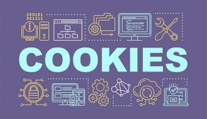 An image featuring cool drawn tech logos with cookies text in the middle representing web cookies concept