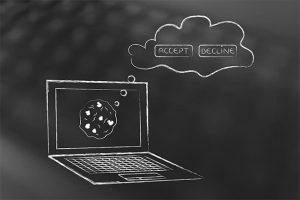 An image featuring accepting or not accepting web cookies on a laptop concept