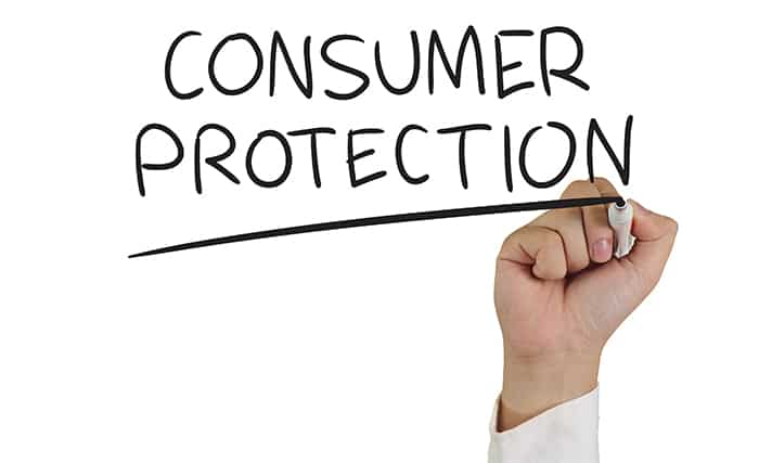 An image featuring a person underlining the text consumer protection